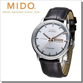 Relógio Mido Commander Watch Silver Dial Leather Strap