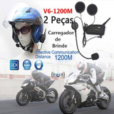 Intercomunicador Bluetooth Moto V6 1200 Capacete 1,2 Km Mp3