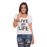 Franela Blanca Live Your Life Saints Clothes