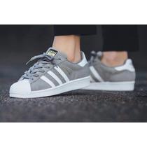 Zapatillas Adidas Superstar Gris Gamuza!