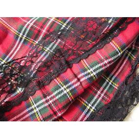 Falda Escocesa Mini Roja Mujer Algodón Talla S Y M Colegiala