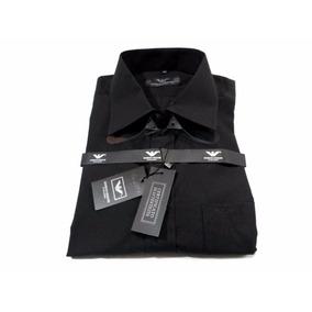 Camisa Giorgio Armani Manga Longa 100% Algodão Black