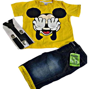 Conjunto Infantil Fantasia Mickey Mouse Com Suspensorio Desc