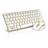 Teclado E Mouse Wireless Sem Fio Ultrafino Hk-3910 Dourado