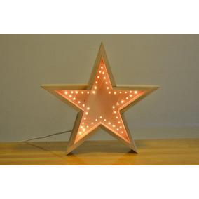 Estrella De Madera Con Luces Tipo Arroz De 40 Cm