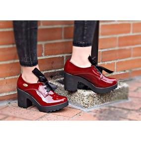 Botines Charol Cordón Tacón Grueso Zapatos Moda 2017 Mujer