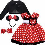 Vestido Fantasia Minnie Vermelha Festa Luxo E Bolero E Tiara