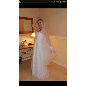 Vestido De Novia De Diseñadora Con Strass Y Bordado A Mano