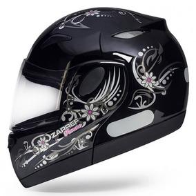 Capacete Feminino Moto Escamoteavel Bullitz Zarref V3 Preto