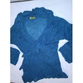 Sweter O Campera Tejida Talle M Turquesa Oscuro Punto Cruz