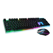 Teclado Y Mouse Kit Gamer Noga Nkb-91 Led Retroiluminado Pc