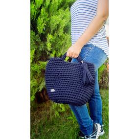 Cartera Azul Marino Tejida, Bolso Crochet