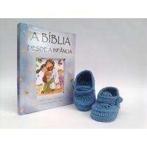 Ak9 Kit Com 1 Sapatinho De Croche E 1 Biblia Do Bebe Menino