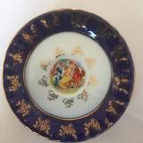 Plato De Porcelana Checoslovaca En Cobalto Y Oro 24k