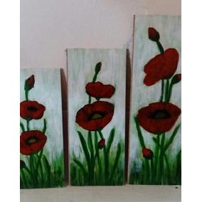 Tríptico Artesanal Tulipan Pintado Sobre Madera C/acrílicos