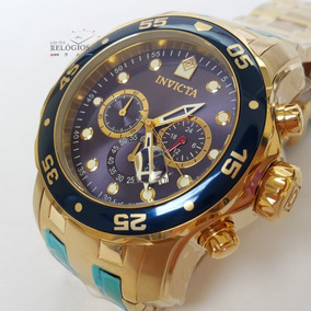 Relógio Invicta Pro Diver 0073 21923 Original Dourado C Azul