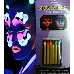 6 Crayones Fluorescentes Luminosos Maquillaje Pintura Neon