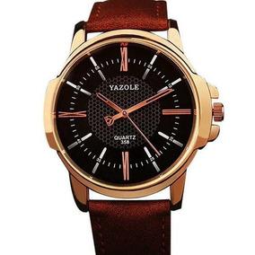 Relógio Dourado Masculino Couro Marrom Social Quartzo Barato