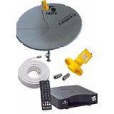 Antena Parabólica Century Chapa + Receptor + Cabo + Lnb Supe