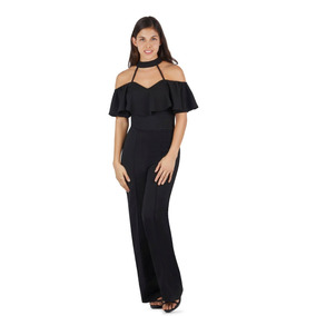Palazzo Jumpsuit Pantalon Mujer Dama Negro Devendi Denim Co.