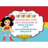 Invitaciones, Tarjetas Mujer Maravilla Imprimible/noeditable