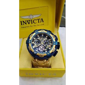 1baaebbad3b Relógio Invicta Thunderbolt Skeleton Azul Gold Novo Ffx3557
