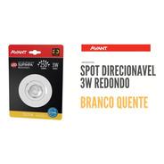 Spot Led 3w Avant Direcionável Redondo Branco Quente