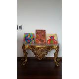 Consola De Marmol Y Espejo Antiguo - Hojillado En Oro