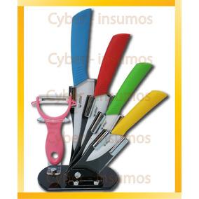 Set De 4 Cuchillos De Ceramica + Pelapapas Multicolor
