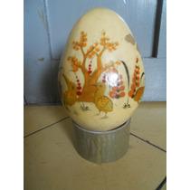 Huevo De Papel Mache Decorado Firmado Sermel