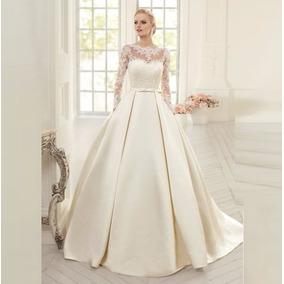 Vestido Noiva Longo Casamento Cetim Fosco Importado Festa