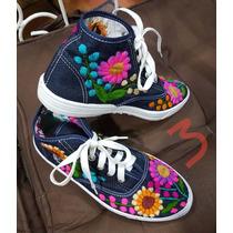 Botin/calzado/zapato Artesanal Bordado A Mano ..chiapas