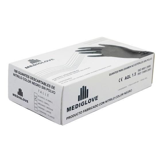 Guantes Nitrilo Negro. Reforzado (1x100un) Mediglove