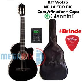 Kit Violão Giannini Elétrico Afinador Nf 14 Ceq Bk + Capa