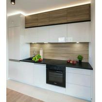 Mueble De Cocina Laqueado Con Mesada Granito Negro Brasil