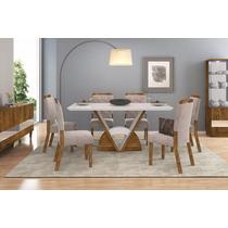 Sala De Jantar Mesa Veneto Tampo Madeira C/ Vidro 6 Cadeiras