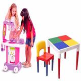Mesa Infantil Mesinha + Cadeira + Fogaozinho Cozinha C/ Roda