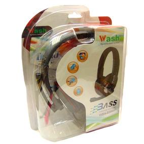 Audífono Super Bajo+micrófono, Bk-red Ideal Para Pc Wash