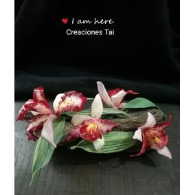 Adorno/centro De Mesa Tronco Con Orquídeas Porcelana Fria