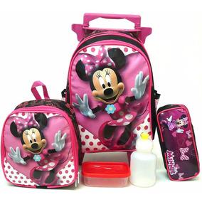 Kit Mochila Infantil Minnie Mouse Lisa Tam M Rodinhas Menina