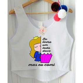 Camiseta Feminina Eu Tinha Um Lado Doce Mais Eu Comi Blusa 4c54e8aef38