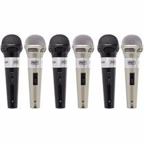 Kit 6 Microfones Com Fio Profissionais + Cabos Mxt C/ Chave