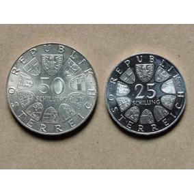 Austria 50/ 25 Schilling 20/ 13 Gr Prata 1974/1964