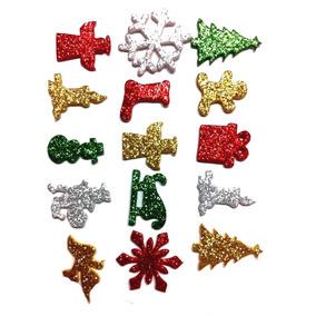 70 Piercings Adesivos Pet Eva Com Glitter - Natal
