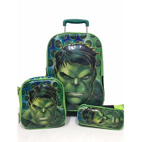 Kit Mochila + Estojo + Lancheira Personagem Hulk Infantil
