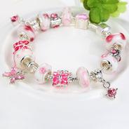 Pulseira Estilo Pandora Moments Life Com 16 Berloques Rosa