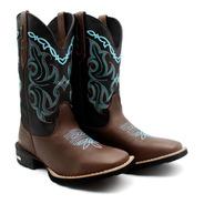 Bota Texana Country Feminina Bico Quadrado Conforto Cowgirl