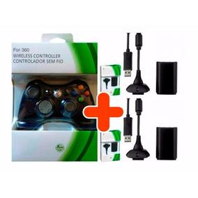 Controle Xbox 360 Slim Sem Fio + 2 Baterias Cabo Carregador