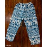 Pantalón Algodón Diseño Hindú Azul Con Elefantes Blancos.