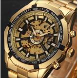 Relógio Masculino De Luxo Dourado Automático Aço Inox